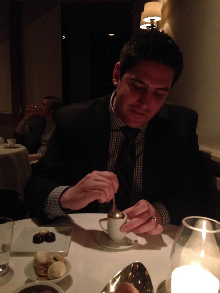 Me enjoying one of the desserts