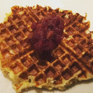 Mashed Potato Waffle with Cranberry Sauce